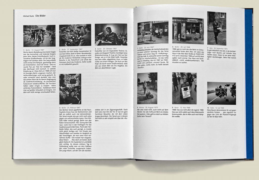Gegenwind, Doppelseite mit persönlichen Erzählungen zu den Bildern.